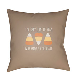 Brown Candy Corn 20-Inch Throw Pillow with Poly Fill