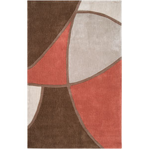Cosmopolitan Brown and Red Rectangular: 5 Ft. x 8 Ft. Rug