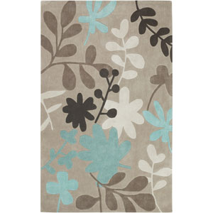 Cosmopolitan Taupe and Light Blue Rectangular: 5 Ft. x 8 Ft. Rug