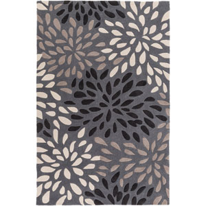 Cosmopolitan Charcoal and Taupe Rectangular: 5 Ft x 8 Ft Rug