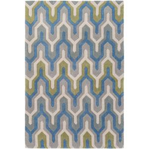Cosmopolitan Blue and Gray Rectangular: 2 Ft x 3 Ft Rug
