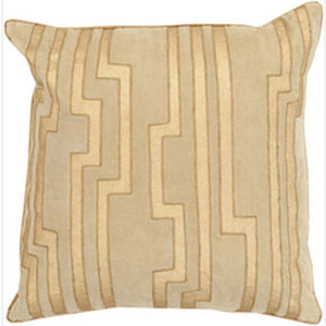 Charming Key Olive and Gold 20-Inch Pillow with Down Fill