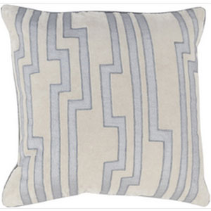 Charming Key Sky Blue and Light Gray 18-Inch Pillow with Down Fill