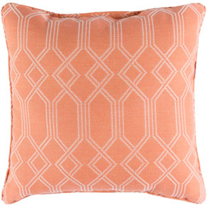Crissy Bright Orange and White 16 x 16 In. Throw Pillow