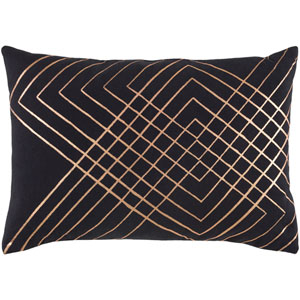 Crescent Black and Champagne 13 x 19 In. Throw Pillow