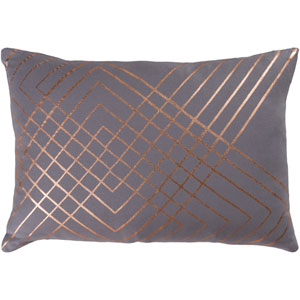 Crescent Medium Gray and Gold 13 x 19 In. Throw Pillow Cover