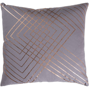 Crescent Medium Gray and Gold 18 x 18 In. Throw Pillow