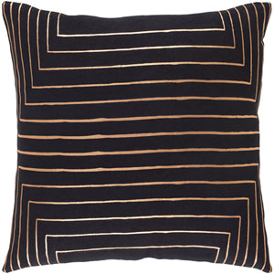 Crescent Black and Yellow 20-Inch Pillow with Down Fill