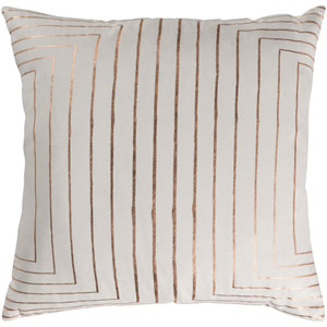 Crescent Cream and Copper 18 x 18 In. Throw Pillow Cover