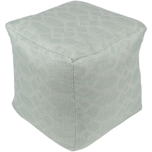 Crissy Sea Foam and White Pouf