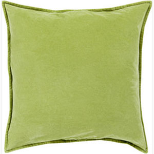 Smooth Velvet Olive 22-Inch Pillow with Poly Fill
