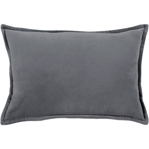 Cotton Velvet Charcoal 13 x 19 In. Throw Pillow