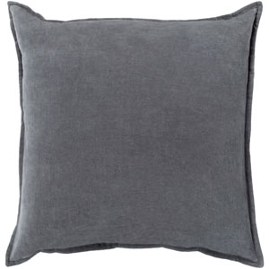 Cotton Velvet Gray 22-Inch Pillow Cover