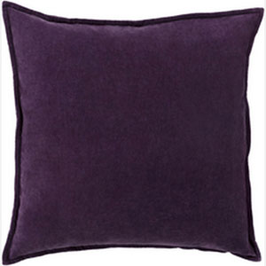 Smooth Velvet Eggplant 20-Inch Pillow with Poly Fill