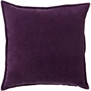 Cotton Velvet Purple 22-Inch Pillow Cover