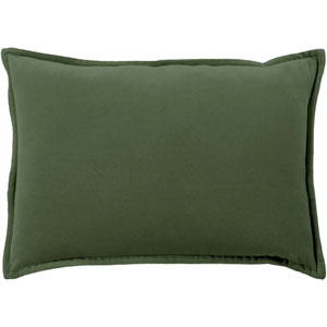 Cotton Velvet Dark Green 13 x 19 In. Throw Pillow
