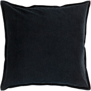 Cotton Velvet Black 22-Inch Pillow Cover