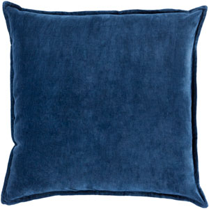Cotton Velvet Blue 22-Inch Pillow Cover