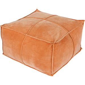 Orange Cotton Velvet Cube Pouf