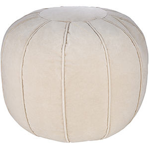 Cotton Velvet Khaki Pouf