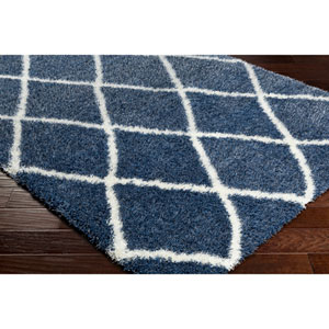 Cloudy Shag Navy and White Rectangular: 6 Ft. 7 In. x 9 Ft. 6 In. Rug
