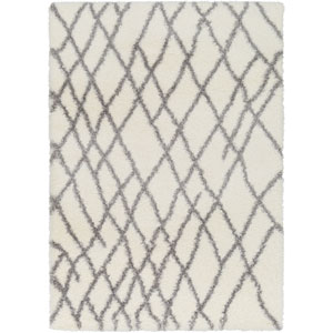 Cloudy Shag Gray and White Rectangular: 2 Ft. x 3 Ft. Rug
