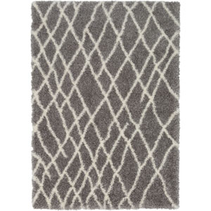 Cloudy Shag Medium Gray and White Rectangular: 6 Ft. 7 In. x 9 Ft. 6 In. Rug