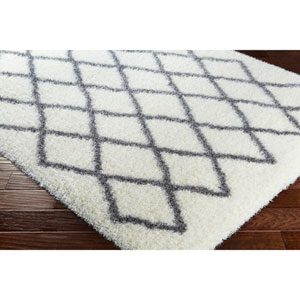Cloudy Shag White and Medium Gray Rectangular: 6 Ft. 7 In. x 9 Ft. 6 In. Rug