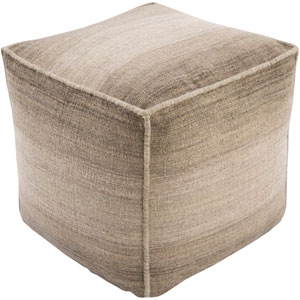 Chaz Neutral and Brown Cube Pouf