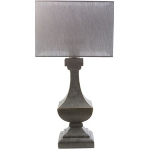 Davis Antique Pewter One-Light Table Lamp with Gray Shade