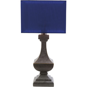 Davis Antique Pewter One-Light Table Lamp with Blue Shade