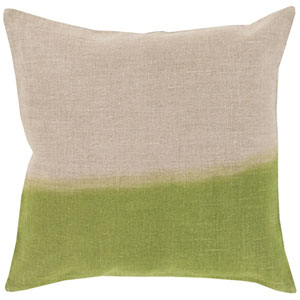 Dip Dyed Neutral and Green 20-Inch Pillow Cover