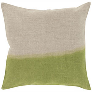 Dip Dyed Light Gray and Lime 22-Inch Pillow with Down Fill