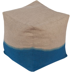 Neutral and Blue Dip Dyed Cube Pouf