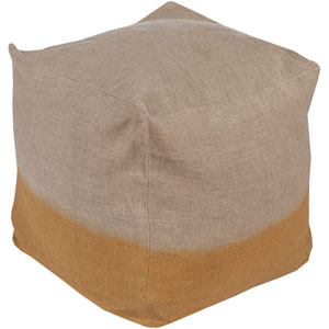 Neutral and Brown Dip Dyed Cube Pouf