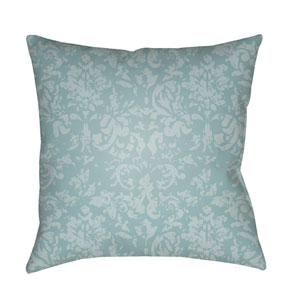 Moody Damask Aqua and Pale Blue 18 x 18-Inch Pillow