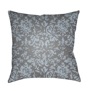 Moody Damask Pale Blue and Medium Gray 22 x 22-Inch Pillow