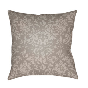 Moody Damask Taupe and Ivory 22 x 22-Inch Pillow