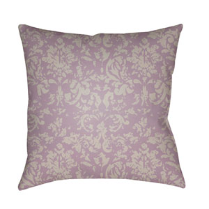 Moody Damask Bright Purple and Light Gray 18 x 18-Inch Pillow