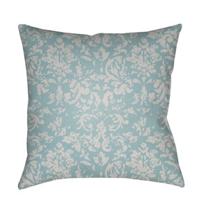 Moody Damask Light Gray and Aqua 22 x 22-Inch Pillow