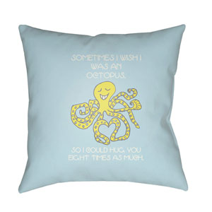 Doodle Pale Blue and Lime 22 x 22-Inch Pillow