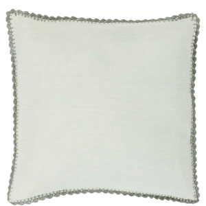 Charming Crotchet Sea Foam and Gray 22-Inch Pillow with Down Fill
