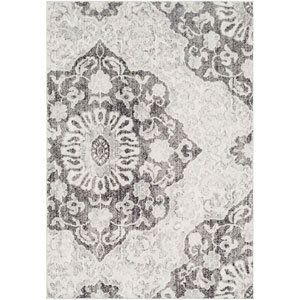 Elaziz Gray and White Rectangle: 2 Ft. x 3 Ft. Rug