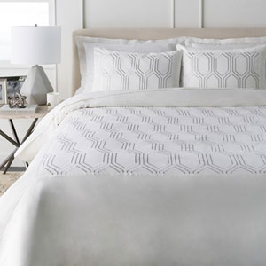 Empire White Twin Duvet Set