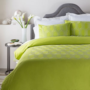 Empire Green Three-Piece King Duvet Set
