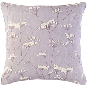 Enchanted Purple and Neutral 20-Inch Pillow with Down Fill