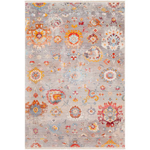 Ephesians Gray and Orange Rectangle: 3 Ft. 11 In. x 5 Ft. 7 In. Rug