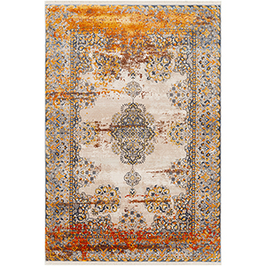 Ephesians Orange and Grey Rectangular: 2 Ft. x 3 Ft. Rug