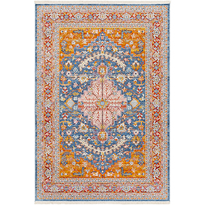 Ephesians Orange and Blue Rectangular: 2 Ft. x 3 Ft. Rug
