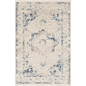 Ephesians Beige and Blue Rectangular: 2 Ft. x 3 Ft. Rug